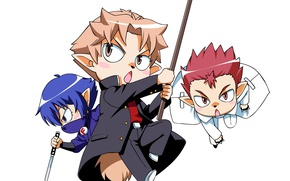 Picture attack, tail, white background, friends, ears, Baka to Test to Shoukanjuu, three guys, chibiki, Becoming …