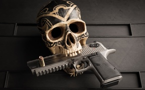 Picture gun, patterns, skull