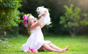 Wallpaper dress, photoshoot, friends, grass, joy, joy, summer, Girl, child, rabbit, little, rabbit, girl