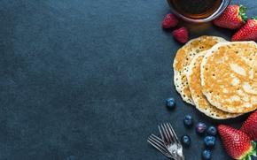 Wallpaper pancakes, strawberry, pancakes, blueberries, berries
