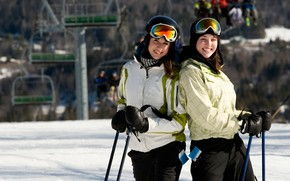 Picture winter, the sun, snow, girls, two, stick, glasses, gloves, smile, pants, bokeh, hats, jackets, skiers