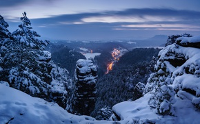 Picture winter, snow, trees, mountains, Germany, panorama, Germany, Saxon Switzerland, Saxon Switzerland, Elbe Sandstone mountains, Elbe ...