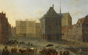 Picture oil, picture, canvas, the urban landscape, The Dam square in Amsterdam, New town Hall under …