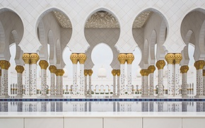 Picture gold, Columns, columns, marble, gold plated, Mosque, Abu Dhabi, Emirates, UAE, The Sheikh Zayed Grand …