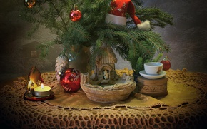 Picture branches, style, table, holiday, box, toys, new year, Christmas, candle, Cup, tree, cap