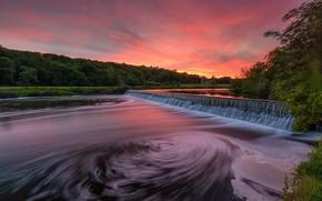 Picture lake, waterfall, dawn