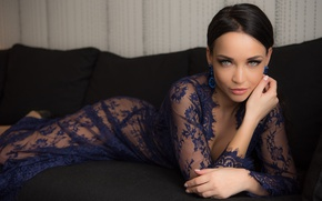 Picture look, pose, model, makeup, dress, brunette, hairstyle, lies, beauty, on the couch, Angelina Petrova, Angelina …
