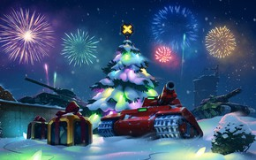 Picture snow, red, mood, tree, new year, salute, gifts, red, game, new year, garland, box, tanks, …