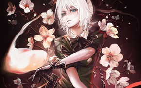 Picture girl, flowers, Touhou