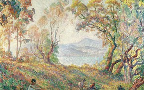 Picture landscape, picture, Henri Lebasque, Henri Lebacq, A young Girl in the Woods