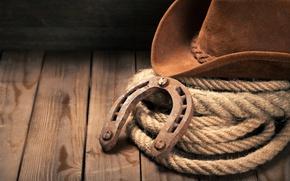 Wallpaper hat, cowboy hat, Horseshoe, wooden floor