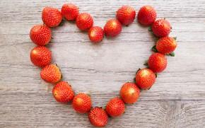 Picture love, berries, heart, strawberry, love, fresh, heart, wood, romantic, strawberry, berries