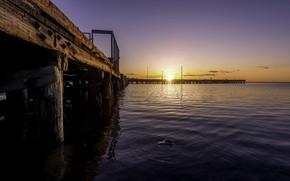 Picture sunset, bridge, Canada, Atlantic