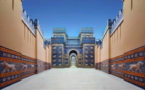 Wallpaper photo-reconstruction, Gate of goddess Ishtar, VI.to BC, Expensive, Babylon, architecture