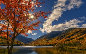 Picture autumn, clouds, mountains, lake, tree, maple, New Hampshire, New Hampshire, Echo Lake, White mountains, Echo …