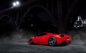 Wallpaper light, night, bridge, lights, Ferrari, red