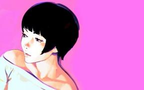Picture face, haircut, brunette, neckline, shoulders, pink background, Ilya Kuvshinov