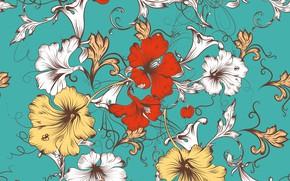 Wallpaper flowers, vector, texture, design, pattern, floral