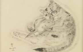 Picture love, kindness, tenderness, sleep, cute, 1929, Tsuguharu Foujita, The Book Of Cats, cat and kitten
