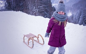 Picture winter, snow, hat, child, frost, jacket, girl, sled, winter, snow
