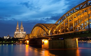 Picture night, bridge, lights, river, Germany, support, Cathedral, Cologne