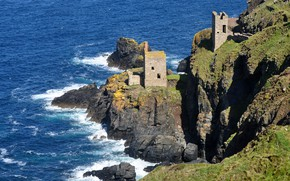 Picture sea, England, the ruins, Cornwall, Crowns engine houses