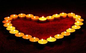 Picture red, fire, heart, Love, carpet, candles, twilight, Heart, Candles