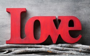 Picture love, branches, red, love, heart, wood, romantic