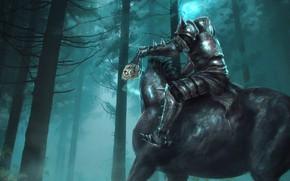 Picture sake, fantasy, forest, armor, trees, horse, digital art, artwork, fantasy art, mist, dark fantasy, knight, ...