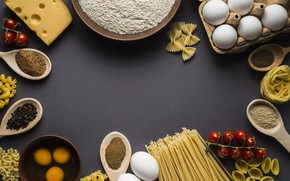 Picture food, cheese, Italy, spaghetti, spices, flour, noodles, pasta, tomatoes-cherry