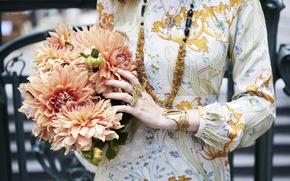 Picture girl, decoration, flowers, hands, dress, ring, beads, bracelet, dahlias