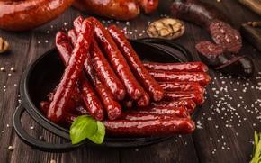Picture sausage, cuts, sausages, Basil