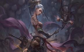 Wallpaper girl, weapons, being, warrior, crank, Chin Likhui