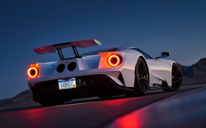 Picture Ford, White, Supercar, Rear, Ligth, GT