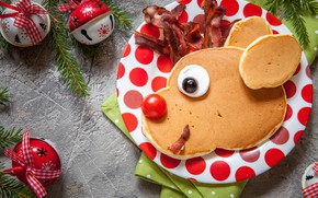 Picture decoration, tree, New Year, Christmas, bells, Christmas, pancakes, Merry Christmas, Xmas, bacon, pancakes, decoration, serving, …