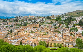 Picture Clouds, Home, The city, Landscape, Spain, Andalusia, Granada