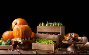 Wallpaper grapes, apples, vegetables, pear, fruit, pumpkin