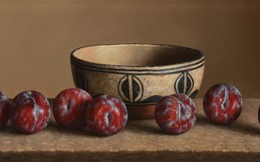 Picture bowl, plate, drain, Still life, Plums, William Acheff, Indian still life