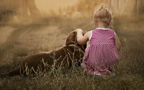 Picture childhood, mood, child, dog, girl, friends