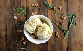 Picture ice cream, nuts, dessert, treat, rosemary