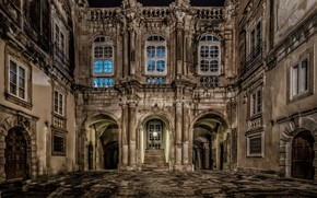 Picture night, lights, Windows, Italy, Sicily, Siracusa, Ortigia, courtyard