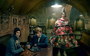 Wallpaper Eddie Redmayne, photoshoot, chairs, pair, at the table, lamp, Eddie Redmayne, Annie Leibovitz, light, Vogue, ...