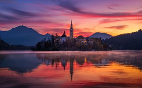 Picture the sky, clouds, light, lights, fog, lake, paint, morning, temple, Slovenia, Lake bled, Bled, St. …