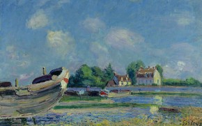Picture landscape, picture, Alfred Sisley, Alfred Sisley, Boats on Repair at Saint-Mames
