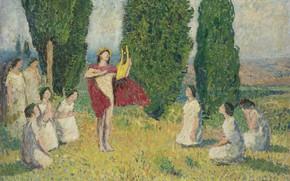 Picture Henri Matrin, picture, Orpheus Plays the lyre, mythology, Henri-Jean Guillaume Martin