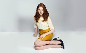 Picture look, girl, photo, skirt, blouse, Karen Gillan