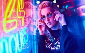Picture girl, night, lights, neon, makeup, glasses, hairstyle, blonde, Neon, neon light, Mark Tiu