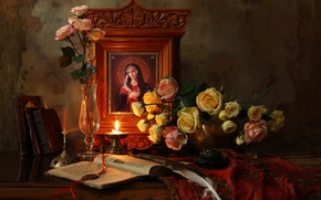 Picture candle, bouquet, icon, Still life with flowers and icon