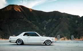 Picture Auto, Mountains, White, Machine, Nissan, Hills, Nissan, Car, 2000, Skyline, Nissan Skyline, 2000GT, Japanese, Side ...