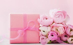 Picture flowers, gift, roses, pink, pink, flowers, beautiful, romantic, present, gift, roses, tender